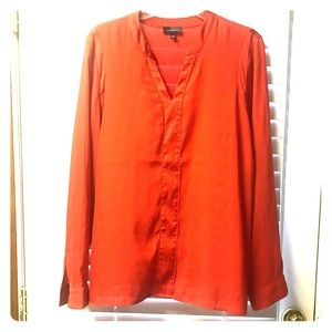 The Limited Pumpkin Orange Silk Blouse